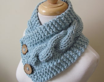 """Chunky Cable Neck Warmer Knit Thick Glacier Blue Scarf Wool Blend 6"""" x 25"""" - Coconut Shell Buttons Ready to Ship - Gift for Her"""