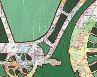 Chattanooga -medium print - 13x13 & 16x16 -bike print featuring Chattanooga, Oak Ridge, Tennessee--bicycle art print