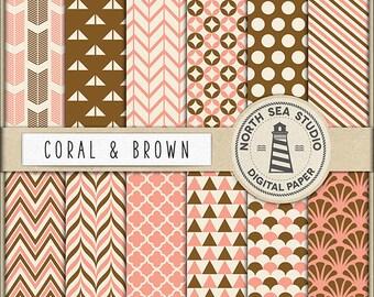 Coral And Brown Digital Paper Pack | Scrapbook Paper | Printable Backgrounds | 12 JPG, 300dpi Files | BUY5FOR8