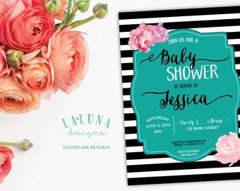 Baby Shower Invitation, Black and White Stripe, Floral Baby Shower, Striped Baby Shower Invitation,  DIY Printable