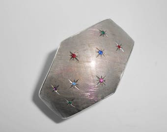 800 Silver Cuff Bracelet Textured Multi Color Stones Vintage Made In Italy Starburst Celestial