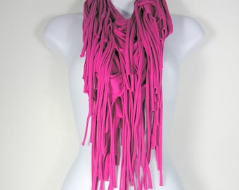 Hot Pink Fringe Scarf Hot Pink Infinity Scarf Pink Cotton Boho Fringed Scarf Fringe Infinity Scarves Fringe Scarves Pink Fringed Scarves