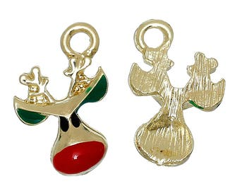 x 1 pendant charm's Christmas Reindeer gold metal, red and green enamel.