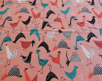 Funky Chicken - Just Us Chickens - Fancy Peach Michael Miller Fabric 1 Yard