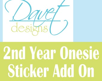 Second Year -13 months thru 24 months Baby Milestone Monthly Waterproof Stickers add on to any order