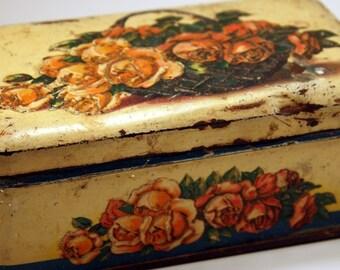 Vintage Candy Tin, J. Schuybroek, Hoboken-Anvers, Belgium, Jellied Apple Candy, Roses, Pink, Embossed, Flower Basket, FREE US Shipping
