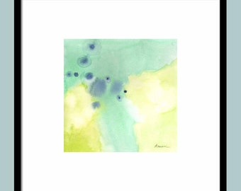 ABSTRACT square watercolor 11X11   home decor, watercolors, fine art painting, paintings, square aqua artwork, wall art watercolor