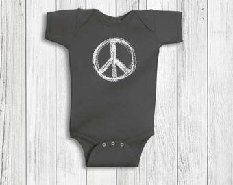 Baby Boy Clothes - Peace Sign, Baby Boy, Peace Sign Baby Clothes, Yoga Baby, Baby Boy Romper, Baby Shower Gift, Baby Boy Gift
