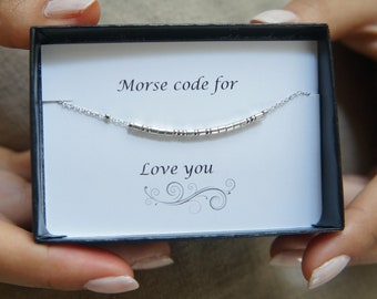 Morse Code Bracelet Graduation Gift Secret Message Jewelry Bridesmaid Gift Hidden Word Mother of the Bride Gift for Her Beaded Bracelet