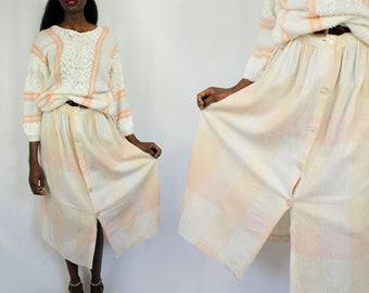 Pastel pink and cream plaid midi/maxi skirt 1990s 90s VINTAGE