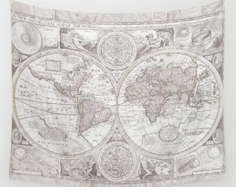 Olde World Map Tapestry Wall hanging - dorm room decor, antique map print, beautiful map, travel decor, industrial chic, rustic