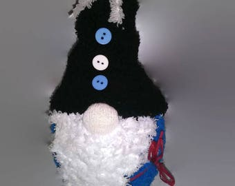 Black and Blue Sock Gnome / House Gnome / Tomte / Nisse / Tomtenisse / Tonttu / Garden Hermit / Travelling Gnome / Kitsch Gnome