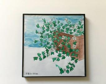 50/100: Flower box - original framed watercolor illustration