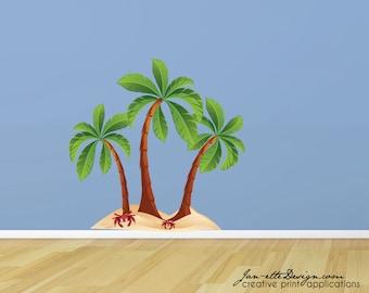 Beach Palm Trees Fabric Wall Decal, Beach Wall Art, Palm Tree Wall Sticker