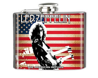 Rock & Roll Flask, Photo Flask, Art Flask, Liquor Flask, HIp Flask - Handmade - LED ZEPPELIN - Sealed in Resin - 4 sizes