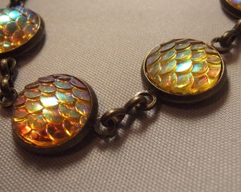 Brass Coloured Yellow Iridescent Dragon Scale Handmade Lobster Clasp Bracelet
