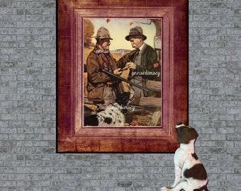 Family Room Art, Man's Office Art, Bedroom Art,  Hunters, Friends, and Dog,  Restored Antique Art #512