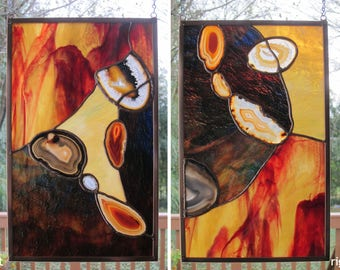 Stained Glass Panels SET of TWO Abstract Red Yellow Black Agate Stained Glass Window Panel Handmade OOAK