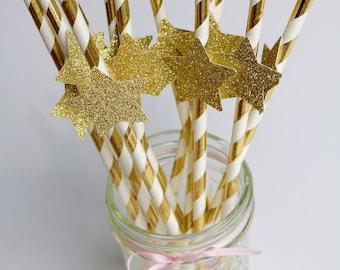 Gold paper straws, gold star paper straws, gold party straws, gold glitter paper straws, twinkle twinkle little star, gold metallic straws