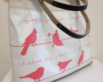 Song Birds. Pink and white. Handbag purse. Medium size. Original Bags bymeg