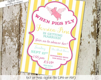 funny bridal shower invitation Couples Bridal Invitation bachelorette theme when pigs fly pink yellow stripe gay shower 321 Katiedid Designs