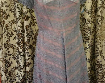50s 1950s blue and lavender dress gown rockabilly bombshell viva pinup 31 waist