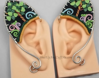 Elf Ear Cuffs, Fantasy Forest Elf Ears, Tree Elf Ears, Silver Elf Ears, Black Elf Ears - PAIR