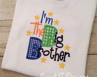 Big brother shirt - Big brother bodysuit - Sibling shirt -Brother Embroidered Applique shirt -Custom Brother shirt - Pregnancy Announcement