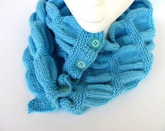 Caribbean Blue Cowl Neck Warmer FREE US Shipping