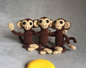 Crochet monkey, amigurumi monkey, miniature monkey, toy, stuffed animal, made to order