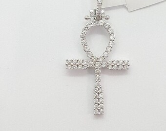 0.83 ct 14k real  gold diamond iced out Egyptian ankh cross pendant charm yellow, rose or white gold