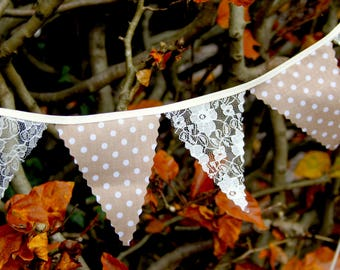 Mini Bunting in Beige dot and vintage style ivory lace for weddings, Baby Showers bedrooms photo shoots, choose your own length from 1 metre