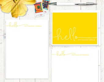 complete personalized stationery set - HELLO HANDWRITING - personalized note cards - stationary set - notepad - fun stationery