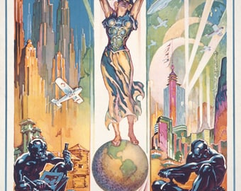 Chicago World's Fair Poster - Woman on Globe (Art Prints available in multiple sizes)