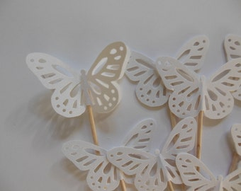 Butterfly Cupcake Toppers - Pearl White - Bridal Showers - Weddings - Baptisms - Baby Showers - Birthday Party Decorations - Set of 12
