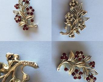 Vintage 1960s Lisner Red Rhinestone Flower Bouquet Brooch