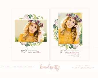 Graduation Announcement | Tea Party Grad Card | Photoshop Template for Senior Photographers
