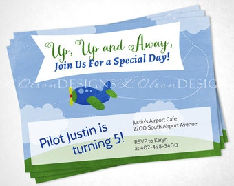 Airplane Up Up and Away Birthday or Special Event Invite - DIY Printable