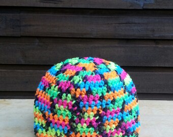 childrens crochet hat, beanie, boys, girls, crochet hat, hat, hats for kids, kids hats, 6 weeks size, blacklight, neon, vegan friendly 2536