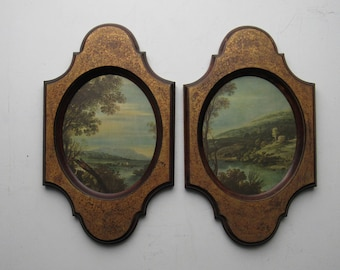 wall decor - vintage - set of 2- wall plaques - landscapes