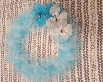 Blue flower tulle wreath