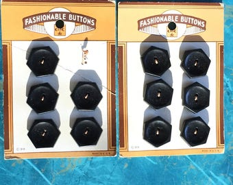 40's Vintage Carded Buttons 11 Black
