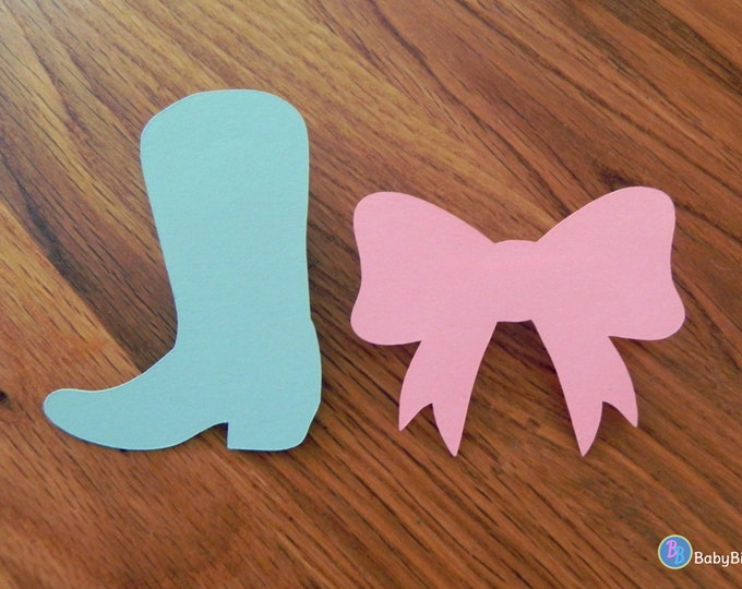 Party Pins: Boots or Bows Gender Reveal Baby Shower - Die Cut Pink Girl Bows & Blue Boy Cowboy Boots game vote
