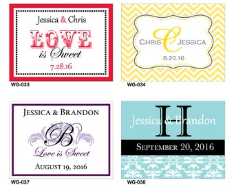 48 - 4x3 Glossy Waterproof Wedding Rectangle / Welcome Bag Stickers - hundreds of designs to choose - change designs to any color or wording