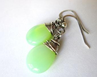 Antiqued Silver Teardrop Earrings, Mint Green and Silver