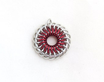 Red Pendant, Chain Maille Jewelry, Jump Rings, Spiral Chain Mail Necklace