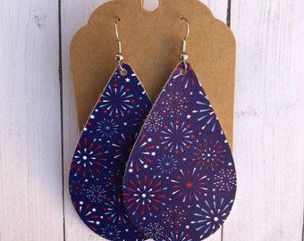 4th of July earrings, firework earrings, red white and blue earrings, Memorial Day earrings, fireworks, faux leather earrings, rangers earri