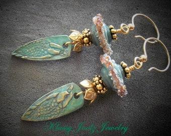 Bronze Handmade Raven Charms-Glass Lampwork Beaded Earrings-Artisan Lampwork Earrings-PMC Earrings-Tribal-Bohemian-Primitive Earrings-SRAJD