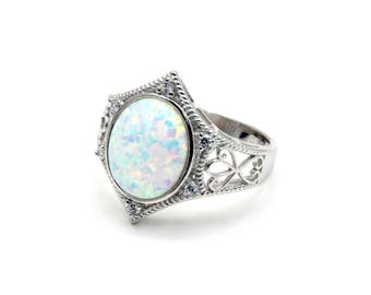 White Opal 12X10 Oval With White Sapphire Accents .925 Sterling Silver (New Style)