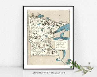 MINNESOTA MAP PRINT- size & color choices - personalize it - vintage illustrated pictorial map - a perfect gift for many occasions